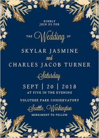 Falling Leaves Foil Wedding Invitations