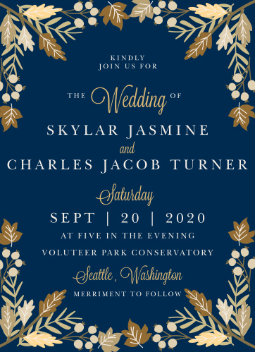 Gorgeous autumn foliage frames your text on the Falling Leaves Foil Wedding Invitations.