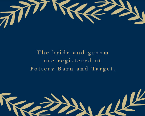 Direct guests to your wedding registries with the Falling Leaves Foil Registry Cards.