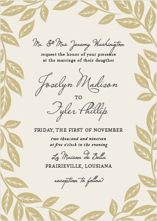 Graceful leaves give the Lovely Laurel Wedding Invitations a graceful, ethereal feel.