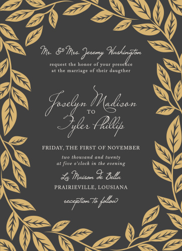 Graceful leaves give the Lovely Laurel Foil Wedding Invitations a graceful, ethereal feel.