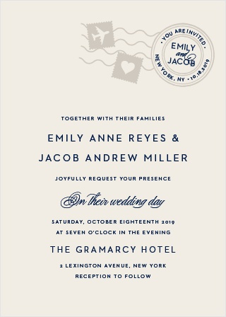 Create gorgeously unforgettable invites to your jet-set wedding with the Posh Postmark Wedding Invitations.