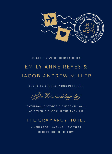 Create gorgeous, unforgettable invites to your jet-set wedding with the Posh Postmark Foil Wedding Invitations.