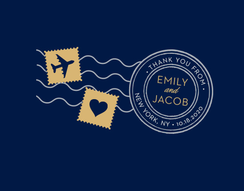 Spread your gratitude with the cute, illustrated design of the Posh Postmark Foil Thank You Cards from the Love Vs. Design Collection at Basic Invite.