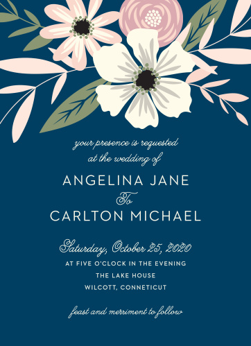 Fetching florals make a delicate crown for the Rustic Blooms Wedding Invitations.