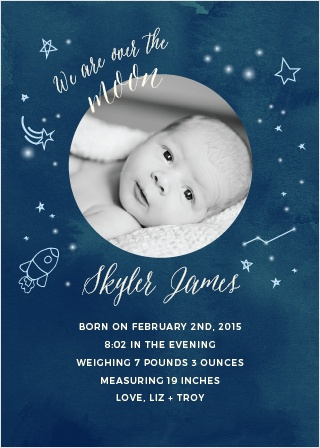 Show off your little star with the Twinkle Twinkle Birth Announcements.