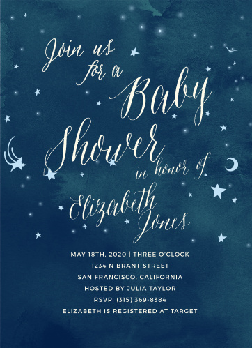 Invite friends and family to celebrate the radiant mother-to-be with the Twinkle Twinkle Baby Shower Invitations from the Love Vs Design Collection at Basic Invite.