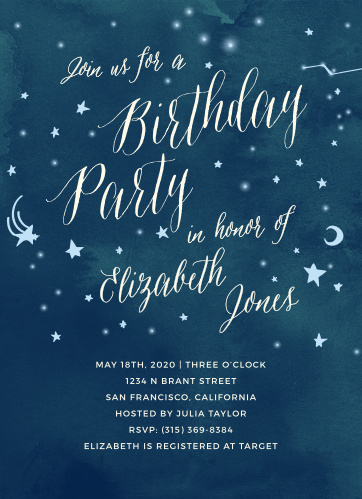 Customize the perfect invites for your starry party theme using the Twinkle Twinkle First Birthday Invitations.