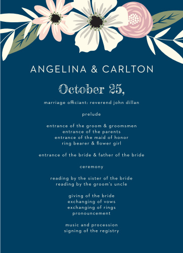 Organize your ceremony with the delicate beauty of the Rustic Blooms Wedding Programs.