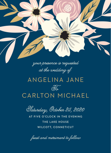 Fetching florals make a gorgeous crown for the Rustic Blooms Foil Wedding Invitations.