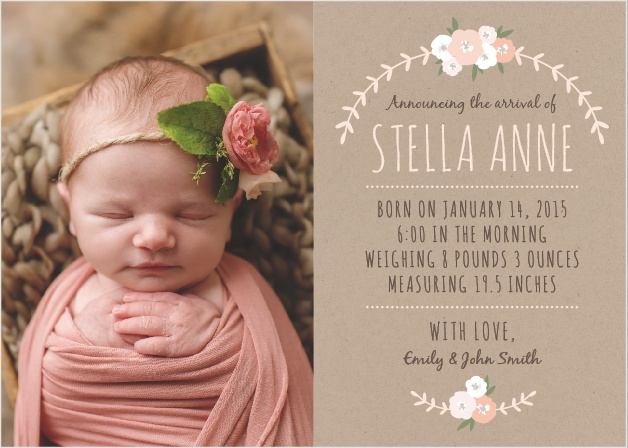 Show off your new little flower with the Floral Kraft Birth Announcements from the Love Vs Design Collection at Basic Invite.