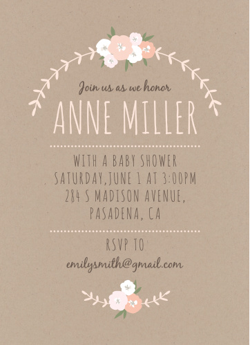Create sweet, rustic invites to celebrate the mom-to-be with the Floral Kraft Baby Shower Invitations from the Love Vs Design Collection at Basic Invite.
