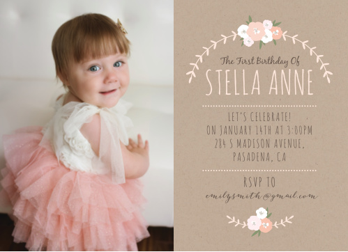 Celebrate your little flower's big day with the Floral Kraft First Birthday Invitations from the Love Vs Design Collection at Basic Invite.