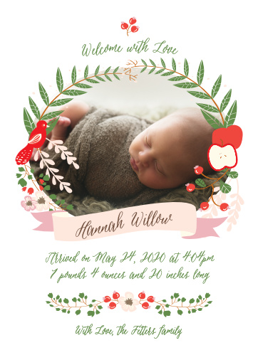 A wreath of foliage, fruit and a bird frame your newborn child's photo on the Whimsical Forest Birth Announcements.