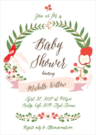 Whimsical Forest Baby Shower Invitations