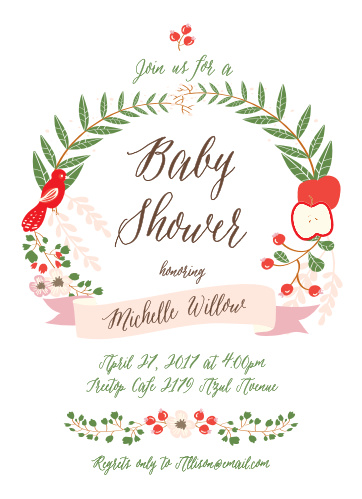 A wreath of foliage, fruit and a bird make the Whimsical Forest Baby Shower Invitations perfect for a woodland theme baby shower.