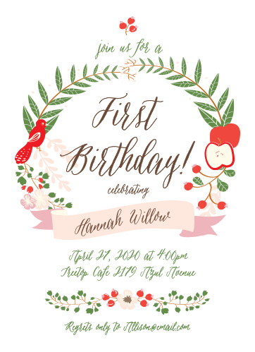Invite friends and family to celebrate your baby's big day with the Whimsical Forest First Birthday Invitations from the Love Vs Design Collection at Basic Invite.