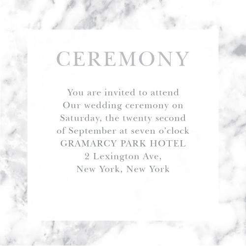 Give guests important wedding day details with the cultivated sophistication of the Cool Marble Ceremony Cards.