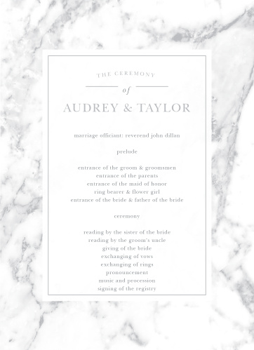 Plan your ceremony with the cultivated sophistication of the Cool Marble Wedding Programs.