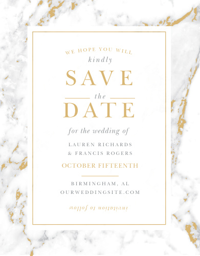 Announce your upcoming union with the cultivated sophistication of the Cool Marble Foil Save-the-Date Cards.