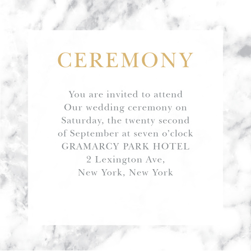 Give guests important wedding day details with the cultivated sophistication of the Cool Marble Foil Ceremony Cards.