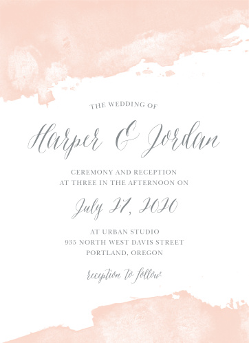 Color splashes at the top and bottom of the Dip Dye Wedding Invitations give them a soft, ethereal appeal.