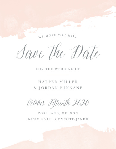 Soft color splashes the top and bottom of the Dip Dye Save-the-Date Cards from the Love Vs Design Collection at Basic Invite.