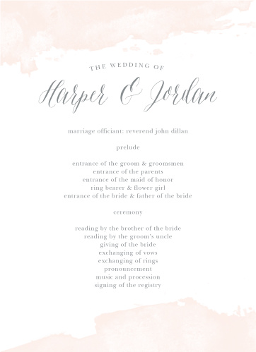 A beautiful splash of color lines the top and the bottom of the Dip Dye Wedding Programs.