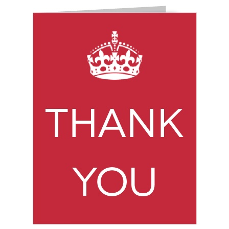 Keep calm and say thank you! The Royal Crown thank you card is bold and modern!