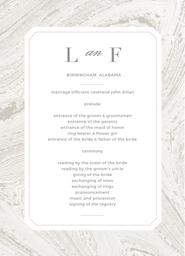 Design programs with the same dignified beauty of your wedding stationery using the Marbled Paper Wedding Programs.