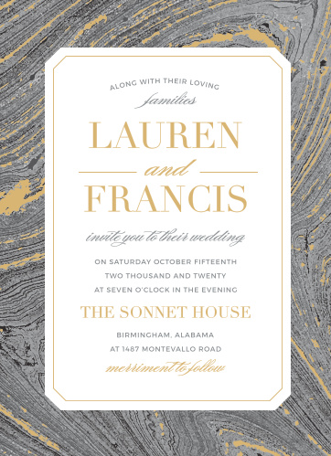 Invite guests to celebrate your upcoming union with the dignified beauty of the Marbled Paper Foil Wedding Invitations.