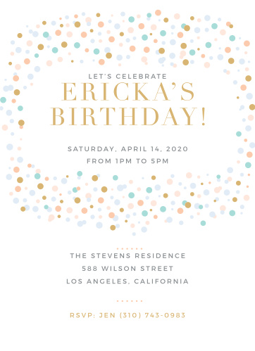 Colorful confetti swirls around your text on the Dancing Dots Foil First Birthday Invitations.