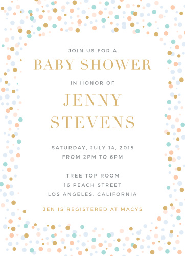 Colorful confetti frames the Dancing Dots Foil Baby Shower Invitations.