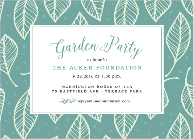 A fun leaf pattern accents your text on the Leafy Party Celebration Invitations.